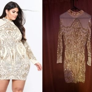 Calcy Gold Sequin Mesh Dress by FashionNova